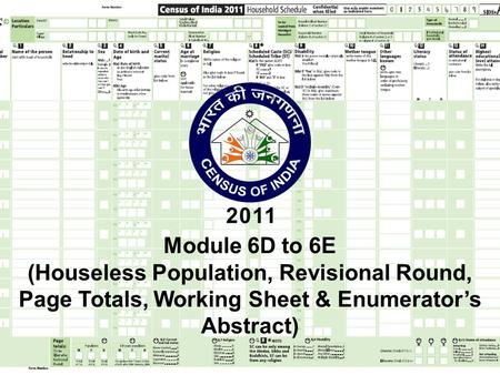 Module 6D to 6E (Houseless Population, Revisional Round, Page Totals, Working Sheet & Enumerator's Abstract)