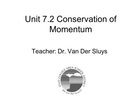 Unit 7.2 Conservation of Momentum Teacher: Dr. Van Der Sluys.