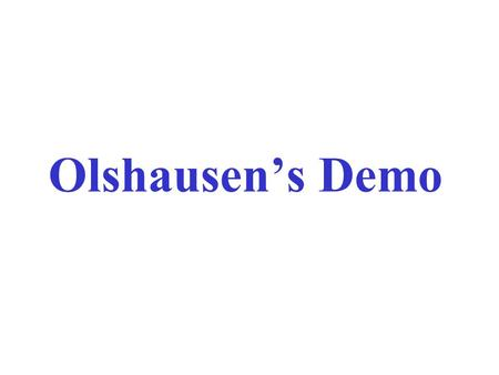 Olshausen's Demo. 1.The Training set ?  Natural Images (Olhausen's database)  How much do we learn ?  face database and car database 2.The Sparseness.