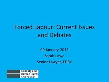 Forced Labour: Current Issues and Debates 09 January 2013 Sarah Lowe Senior Lawyer, EHRC.