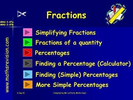 3-Sep-15Compiled by Mr. Lafferty Maths Dept. Fractions www.mathsrevision.com Simplifying Fractions Fractions of a quantity Finding a Percentage (Calculator)