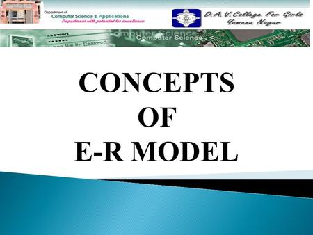 CONCEPTS OF E-R MODEL. CONTENTS Entity Attributes Data Value Entity Types Types of Entity Types Relationships Relationship Constraints.