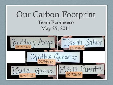 Our Carbon Footprint Team Ecomeeco May 25, 2011. All About Ecomeeco… Age group : 19-24 years young Occupation : Students Class: Middle working class Origin: