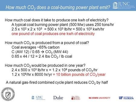 How much CO 2 does a coal-burning power plant emit? How much coal does it take to produce one kwh of electricity? A typical coal burning power plant (500.