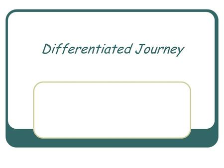 Differentiated Journey. The Plan Working definition Beginning steps Take home one strategy to use with students or staff.