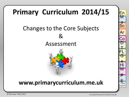 © Michael Tidd, 2013 www.primarycurriculum.me.uk Primary Curriculum 2014/15 Changes to the Core Subjects & Assessment www.primarycurriculum.me.uk Primary.