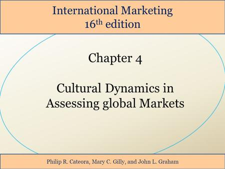International Marketing 16 th edition Philip R. Cateora, Mary C. Gilly, and John L. Graham.