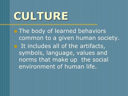 CULTURE The body of learned behaviors common to a given human society.