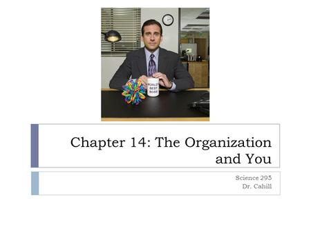 Chapter 14: The Organization and You Science 295 Dr. Cahill.