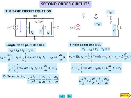 SECOND-ORDER CIRCUITS THE BASIC CIRCUIT EQUATION Single Node-pair: Use KCL Differentiating Single Loop: Use KVL.