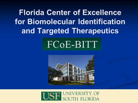 Florida Center of Excellence for Biomolecular Identification and Targeted Therapeutics.