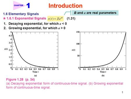 1 Introduction CHAPTER 1.6 Elementary Signals ★ 1.6.1 Exponential Signals (1.31) B and a are real parameters 1.Decaying exponential, for which a < 0 2.Growing.