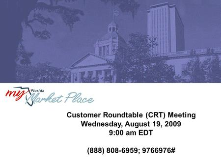 Customer Roundtable (CRT) Meeting Wednesday, August 19, 2009 9:00 am EDT (888) 808-6959; 9766976#