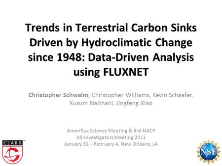Trends in Terrestrial Carbon Sinks Driven by Hydroclimatic Change since 1948: Data-Driven Analysis using FLUXNET Trends in Terrestrial Carbon Sinks Driven.