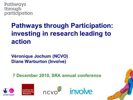 Pathways through Participation: investing in research leading to action Véronique Jochum (NCVO) Diane Warburton (Involve) 7 December 2010, SRA annual conference.