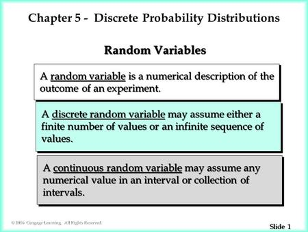 1 1 Slide © 2016 Cengage Learning. All Rights Reserved. A random variable is a numerical description of the A random variable is a numerical description.