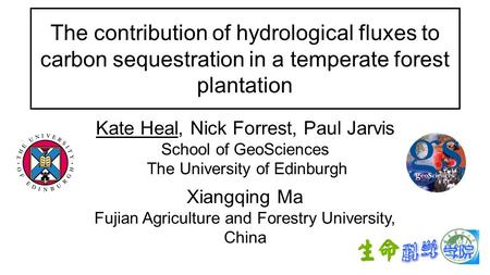 The contribution of hydrological fluxes to carbon sequestration in a temperate forest plantation Kate Heal, Nick Forrest, Paul Jarvis School of GeoSciences.