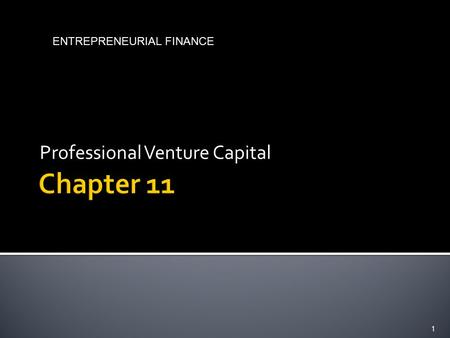 Professional Venture Capital 1 ENTREPRENEURIAL FINANCE.