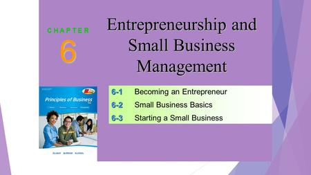 SLIDE 1 6-1 6-1Becoming an Entrepreneur 6-2 6-2Small Business Basics 6-3 6-3Starting a Small Business 6 C H A P T E R Entrepreneurship and Small Business.