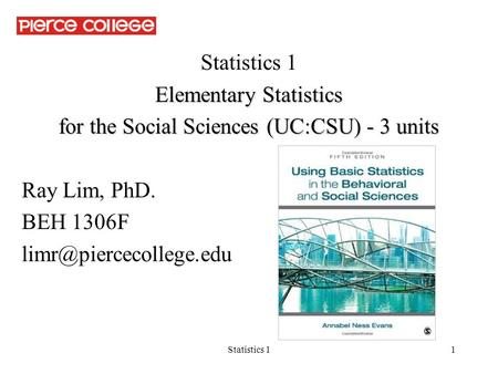 Elementary Statistics for the Social Sciences (UC:CSU) - 3 units