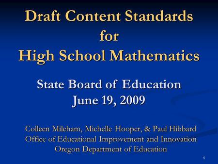Draft Content Standards for High School Mathematics
