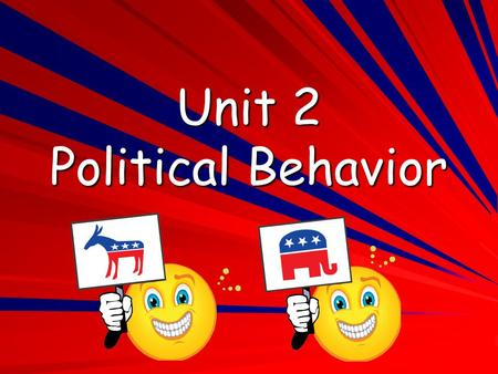 Unit 2 Political Behavior Political Parties A political party is a group of people who try to control government by winning elections and holding public.