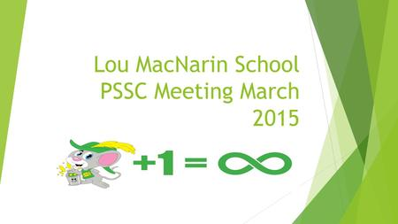 Lou MacNarin School PSSC Meeting March 2015. Welcome  New and returning members  Selection of Officers  School Data  School Improvement Data  Tell.