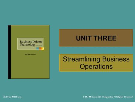 McGraw-Hill/Irwin © The McGraw-Hill Companies, All Rights Reserved UNIT THREE Streamlining Business Operations.