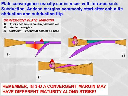 Plate convergence usually commences with intra-oceanic Subduction, Andean margins commonly start after ophiolite obduction and subduction flip. CONVERGENT.