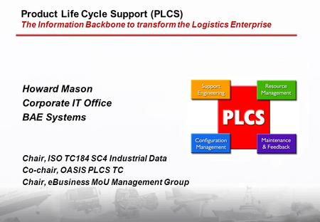 Product Life Cycle Support (PLCS) The Information Backbone to transform the Logistics Enterprise Howard Mason Corporate IT Office BAE Systems Chair, ISO.