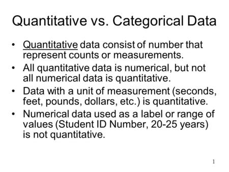 Quantitative vs. Categorical Data