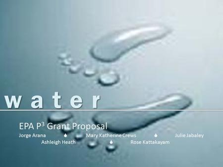 <strong>Water</strong> EPA P 3 Grant Proposal Jorge Arana  Mary Katherine Crews  Julie Jabaley Ashleigh Heath  Rose Kattakayam.