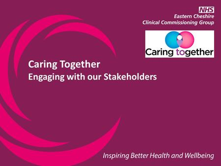 "Caring Together Engaging with our Stakeholders. Background ""As a service user I am given little knowledge, information and support….."""