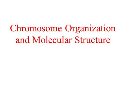 Chromosome Organization and Molecular Structure. Chromosomes & Genomes Chromosomes complexes of DNA and proteins – chromatin Viral – linear, circular;