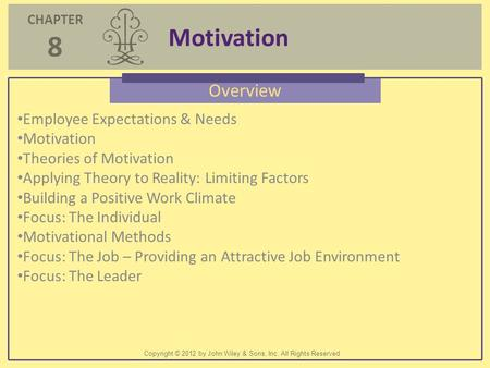 Motivation Overview Employee Expectations & Needs Motivation