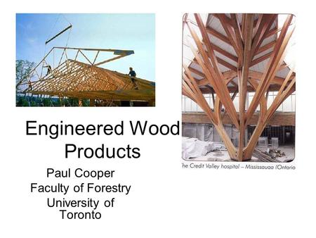 Engineered Wood Products Paul Cooper Faculty of Forestry University of Toronto.