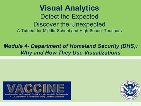 Visual Analytics Detect the Expected Discover the Unexpected A Tutorial for Middle School and High School Teachers Module 4- Department of Homeland Security.