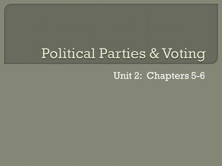 Unit 2: Chapters 5-6.  A political party is a group of people who seek to control government by winning elections and holding office  Platform: Formal.