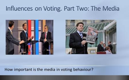 How important is the media in voting behaviour?. Influence of the media Newspapers, especially tabloids, attempt to influence the result of elections.