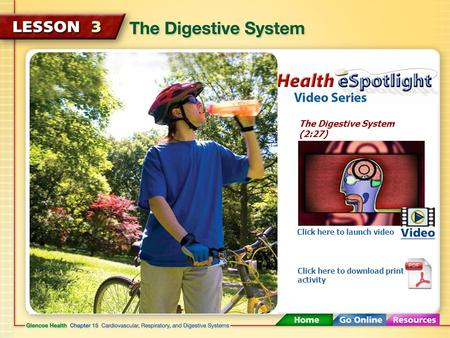 The Digestive System (2:27) Click here to launch video Click here to download print activity.