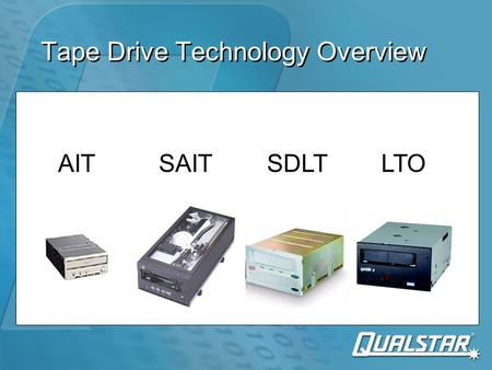 Tape Drive Technology Overview AITSAITSDLTLTO. Tape Drive Recording Technologies AITSAITSuperDLTLTO Recording styleHelical Scan Linear serpentine Cartridge.