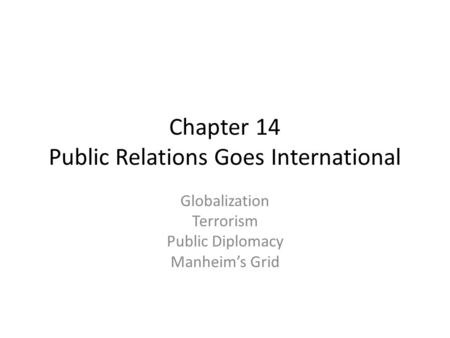 Chapter 14 Public Relations Goes International