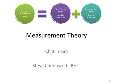 1 Measurement Theory Ch 3 in Kan Steve Chenoweth, RHIT.