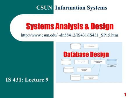 1 Systems Analysis & Design IS 431: Lecture 9  CSUN Information Systems Database Design.