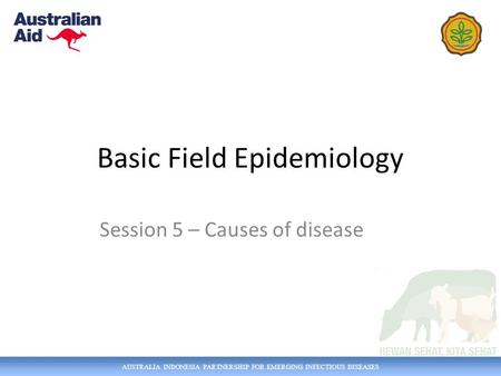 AUSTRALIA INDONESIA PARTNERSHIP FOR EMERGING INFECTIOUS DISEASES Basic Field Epidemiology Session 5 – Causes of disease.