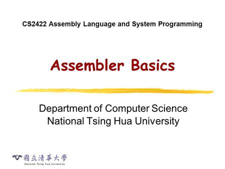 Today's Topic Assembler: Basic Functions