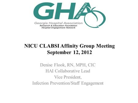 NICU CLABSI Affinity Group Meeting September 12, 2012 Denise Flook, RN, MPH, CIC HAI Collaborative Lead Vice President, Infection Prevention/Staff Engagement.