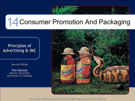 For use only with Duncan texts. © 2005 McGraw-Hill Companies, Inc. McGraw-Hill/Irwin Consumer Promotion And Packaging.