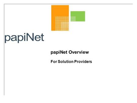 PapiNet Overview For Solution Providers. Contents Introduction Goals Marketsize What is papiNet? Opportunities for Solution Providers How to Become a.