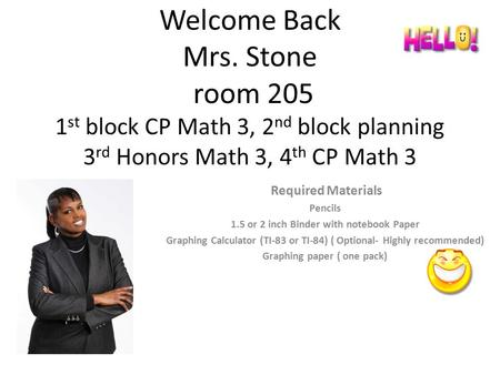 Welcome Back Mrs. Stone room 205 1 st block CP Math 3, 2 nd block planning 3 rd Honors Math 3, 4 th CP Math 3 Required Materials Pencils 1.5 or 2 inch.